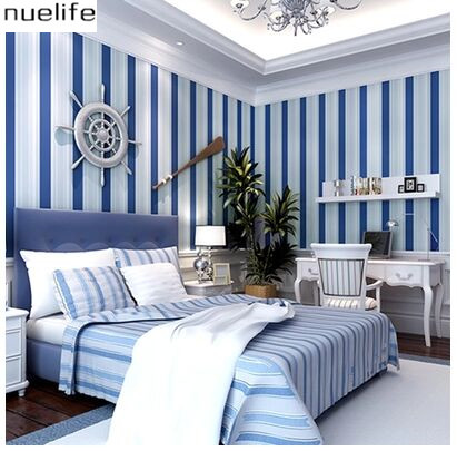 Mediterranean blue and white vertical stripes non - woven wallpaper  children 's room living room bedroom background wallpaper contemporary and contracted non woven wallpaper vertical stripes boy born children room bedroom wall stickers blue mediterranean