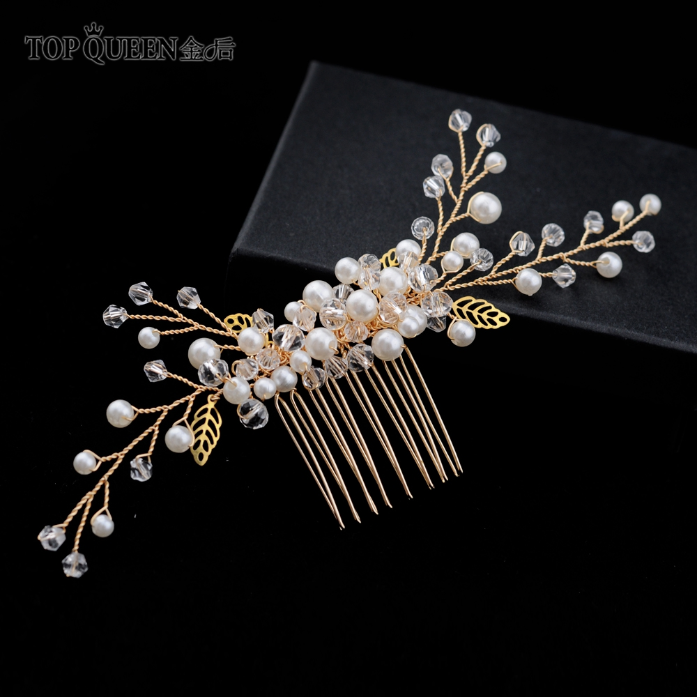 TOPQUEEN HP180 Wedding Hair Comb Golden Alloy Hollow Leaves Bridal Comb Pearl Hair Combs For Wedding Hair Pieces Wedding Tiara