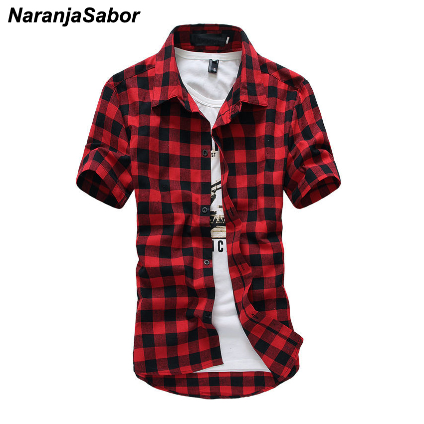 NaranjaSabor 2020 New Summer Fashion Chemise Homme Mens Checkered Shirts Short Sleeve Shirt Men Blouse Brand Clothing 3XL N511