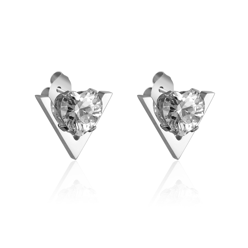 Hot Sale Fashion Cute V Shape And Heart Crystal Woman Stud Earrings Stainless Steel Women Jewelry Gift Gold Color Love Earring