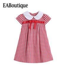 cee87597c66ff EABoutique été rétro mode rouge Plaid col claudine avec nœud filles robe  enfant en bas âge une ligne enfants robes pour filles Q..