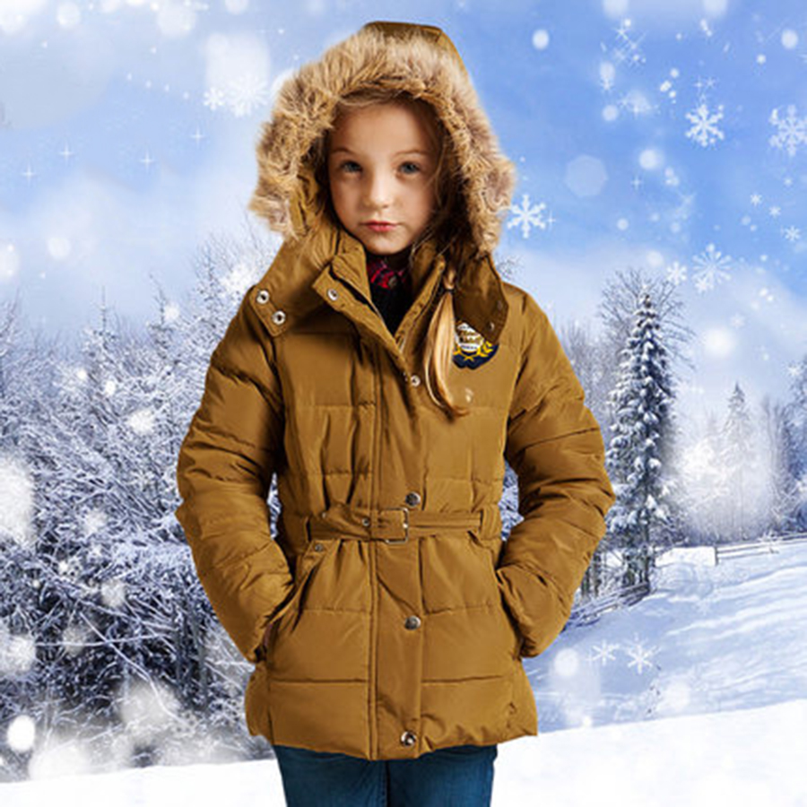 Girls Kids Down Coat With Fur Hood Winter New 2016 Brand Outerwear Warm Clothes Kids Coat Winter Girls Jackets Children 70F1552 kids winter jackets girls coats with hood waterproof girls coat autumn outerwear windbreaker pink children clothes 11 12years