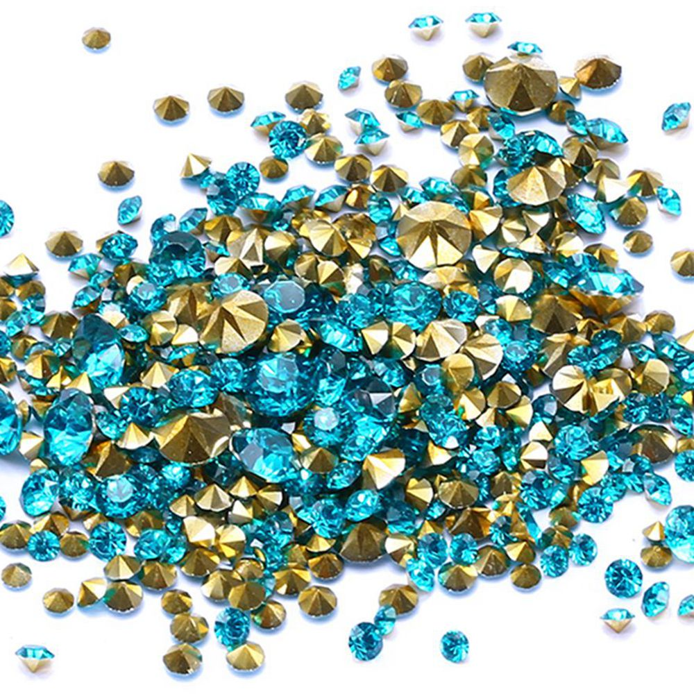 Wholesale Dark Aquamarine Color Resin Rhinestones Glue On Beads PointBack Many Sizes Nail Art Wedding Dress Decoration DIY