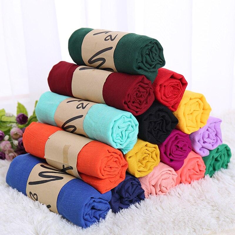 New Linen   Scarves   Women Solid Color   Scarf   Shawl Luxury Brand Muslim Hijab Muffler Female Soft   Wraps   Headband Foulard Bufandas
