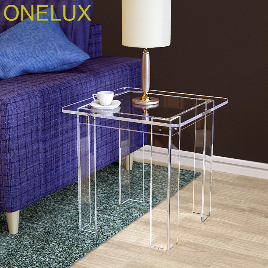V-Legs Acrylic Occasional Side Tea Table,Lucite Small Sofa Tables, -Flat Packed acrylic laptop desk perspex plexiglass lucite laptop table coffee side table acrylic furniture