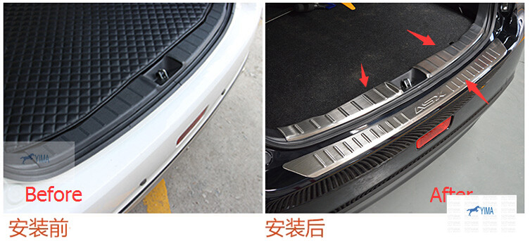 For Mitsubishi ASX 2010 - 2014 Stainless Steel Inner and Outer Rear Bumper Protector Sill Plate 3 pcs / set stainless steel rear outer inner bumper protector door sill plate 2 pcs for ford explorer 2016 2017