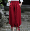 New Red Summer Cotton Linen Women Capris Pants Plus Size Wide Leg Pants Elastic Waist Calf-Length Trousers S M L XL XXL