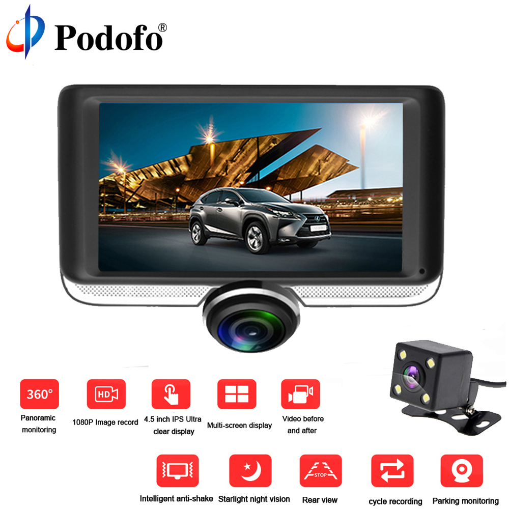 Podofo 4.0 Full HD 1080P Car DVR Camera Cycle Recording IPS Video Recorder Registrator Night Vision Car Camcorder DVRs Dash Cam bigbigroad for nissan qashqai car wifi dvr driving video recorder novatek 96655 car black box g sensor dash cam night vision