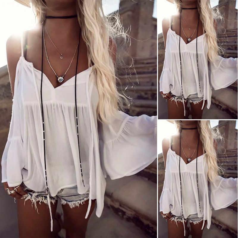 Hirigin 2017 Kapalı Omuz Bluz Gömlek Kadın Yaz Yeni Moda Tatlı derin V Boyun Üstleri cut up Seksi beyaz bluzlar bayanlar kadın