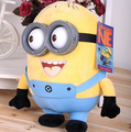 Hot sale minion toys 3pcs a bag despicable me Creative Minions 3D eyes yellow doll soybeans doll plush toys free shipping