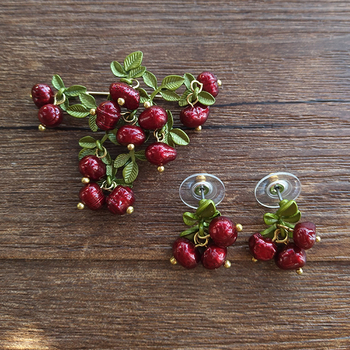 KUQIE canneberge naturel perle vert peinture femme broche fleur boucles doreilles 2017 nouvelle déclaration mode femmes bijoux