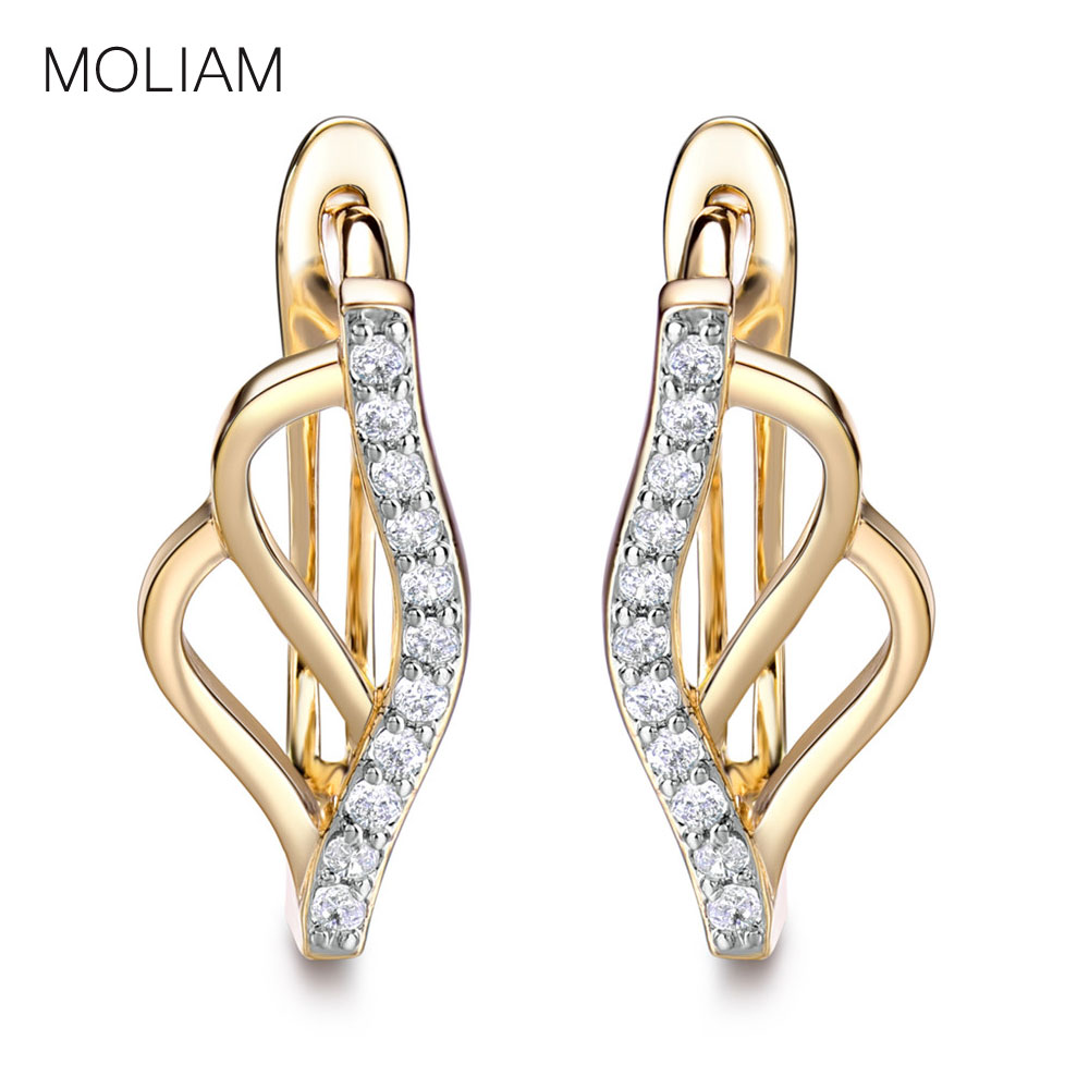MOLIAM Unique Jewelry Earrings for Women Crystals Zirconia Horseshoe Huggie Hoop Earring Hot Sale Brinco Ladies MLE163