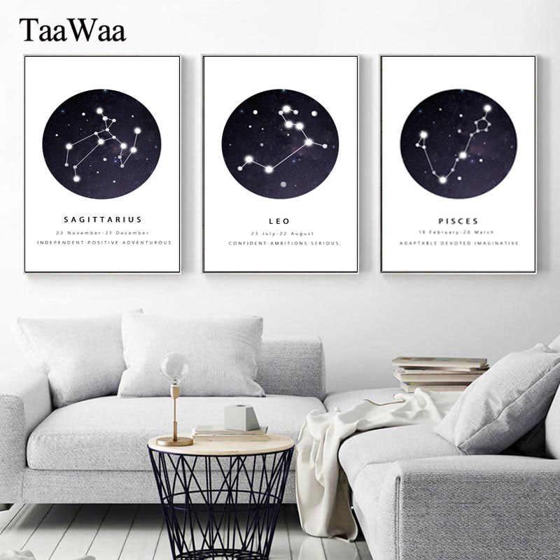 Canvas Wall Art Black White Constellations Nursery Painting Poster Prints Astrology Sign Nordic Kids Pictures Home Decoration