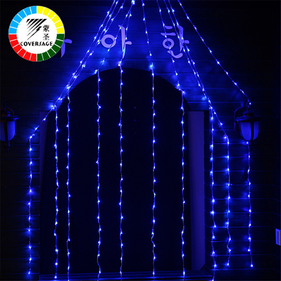 Coversage 2x3M 240Leds Curtain Outdoor Holiday Christmas Net Lights Decorative Cortina Luces Navidad xmas String Fairy Garlands
