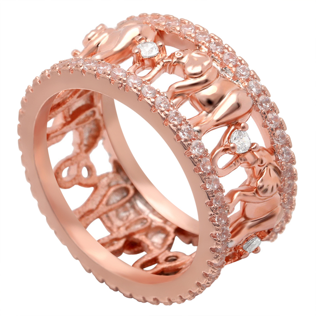 Lucky Elephant Ring Jewelry Rose Gold Color Cute Cubic Zirconia Animal Wedding Bands Party Tail