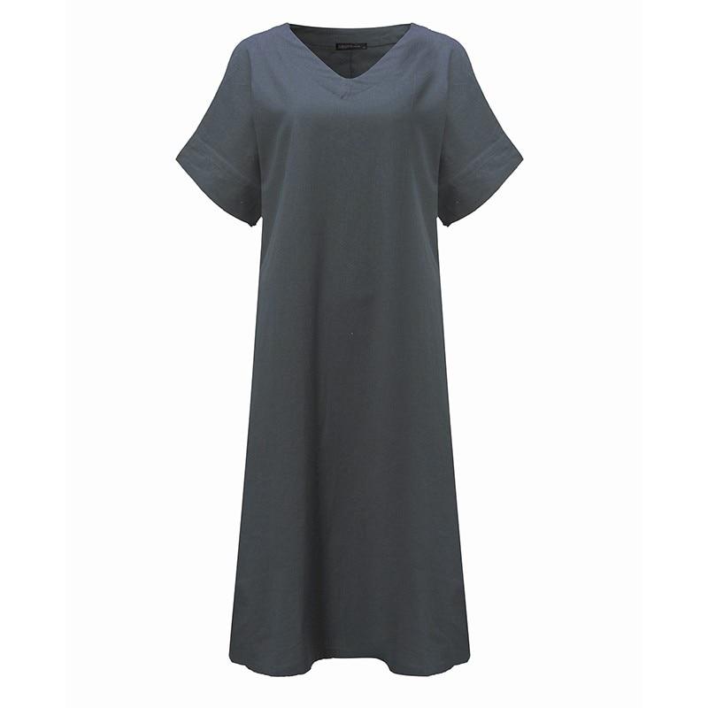 2018 Women Cotton Dress O Neck Long Sleeve Pockets Solid Loose Casual Vintage Long Baggy Dresses Plus Size Vestidos