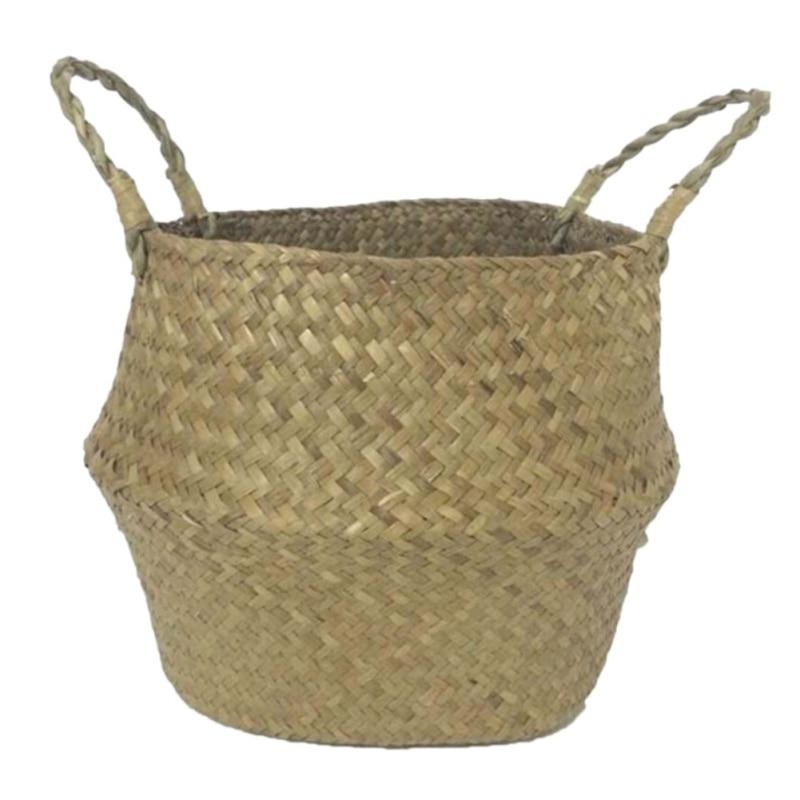 Home Garden Seagrass Wickerwork Basket Rattan Foldable Hengende - Hageforsyninger - Bilde 4