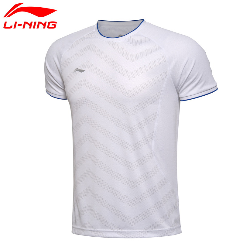 Li-Ning Man's Quick Dry Breathable Badminton Training T-shirt Li Ning O-Neck Short Sleeve Portable Sports T shirt AAYM037 round neck quick dry solid color short sleeve men s t shirt