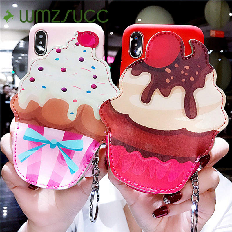 WMZSUCC Cute Icecream Cake Soft Pocket Back Cover Case for iPhone X 6 6s 7 8 Plus Phone Case Coin Purse 2 In 1