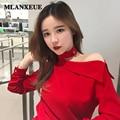 2017 Весной Новый С Длинными Рукавами Блузка Sexy Бретелек Женщины Блузки Повседневная Дикий Блузка Корейской Версии Женщины Топы Тонкий Блузка