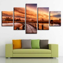 Pictures Modular Framework Poster Decor Wall Art 5 Pieces HD Printing Woods Bridge Lake Sunset Natural Landscape Canvas Painting