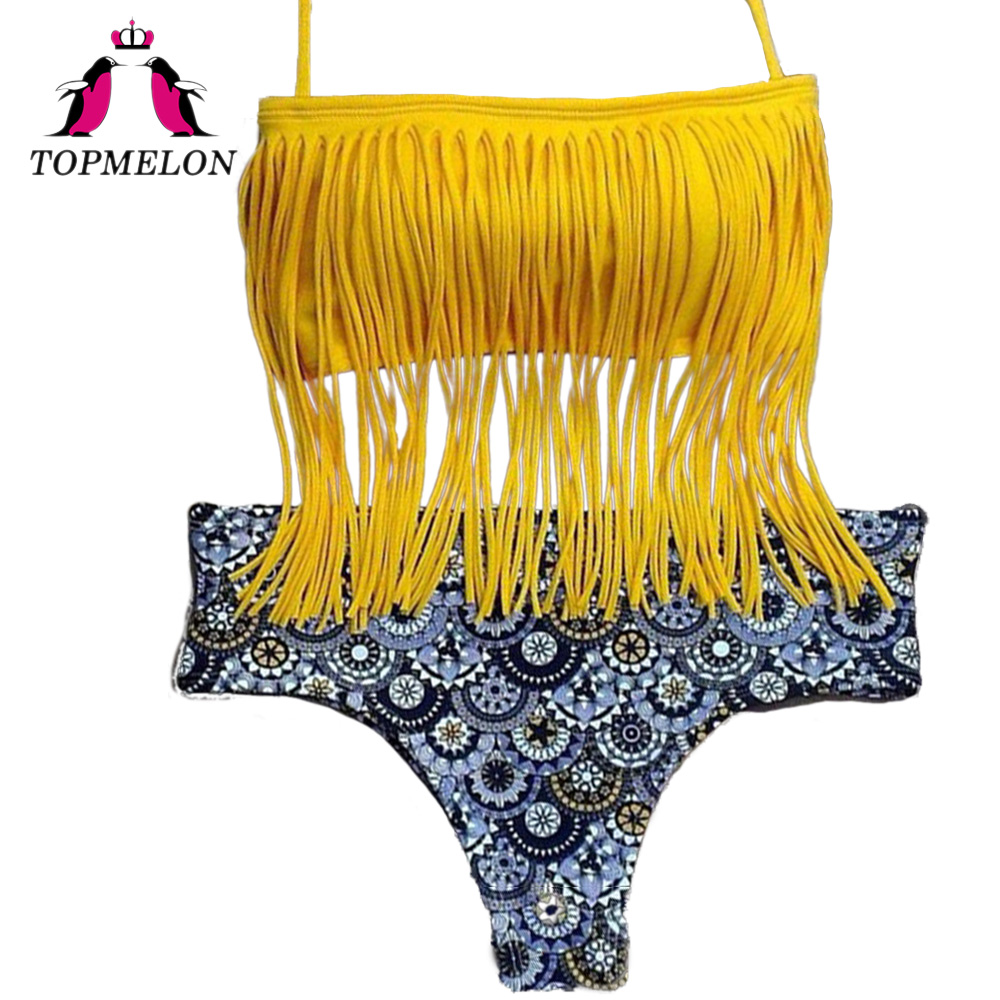 Topmelon Bikini Set Sexy Women Print Tassels Halter Yellow Lace-Up Halter Bikini Beachwear Bathingsuit Women Bikini Set Biquini