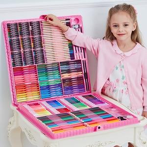 Image 1 - 168/288pcs 아트 세트 그림 수채화 그리기 도구 아트 마커 브러쉬 펜 용품 어린이 선물 상자 Office 편지지