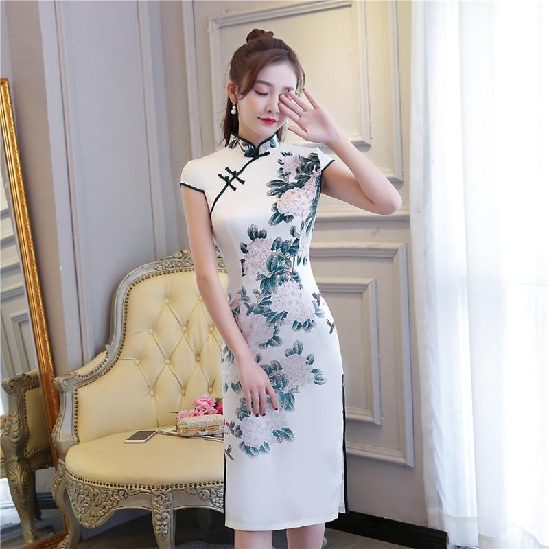 Shanghai Story Short Sleeve Chinese Qipao Dress 2 Layer Chinese Cheongsam Oriental dress Women's Vintage Dresses For Ladies