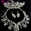 6 Set/ Lot Handmade Pearl and Austrian Crystal Queen's Crown Tiara with Bridal Necklace Earring Wedding Jewellery Set