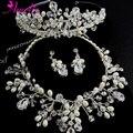 6 Set/Lot Hecha A Mano de La Perla y Cristal Austriaco Reina Corona Tiara Nupcial con el Collar Pendiente de La Joyería de La Boda Set