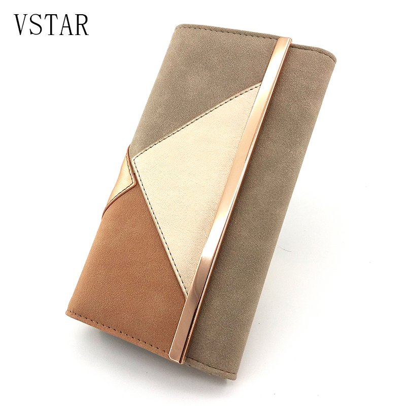 Women Fashion Wallets with Patchwork 2018 High Quality Suede PU Long Ladies Wallet with Metal Bar Female Purse Luxury Design foldover suede wallet