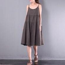 f591380412 Oversized ZANZEA Summer Women Retro O Neck Strappy Solid Cotton Linen Party  A-line Dress