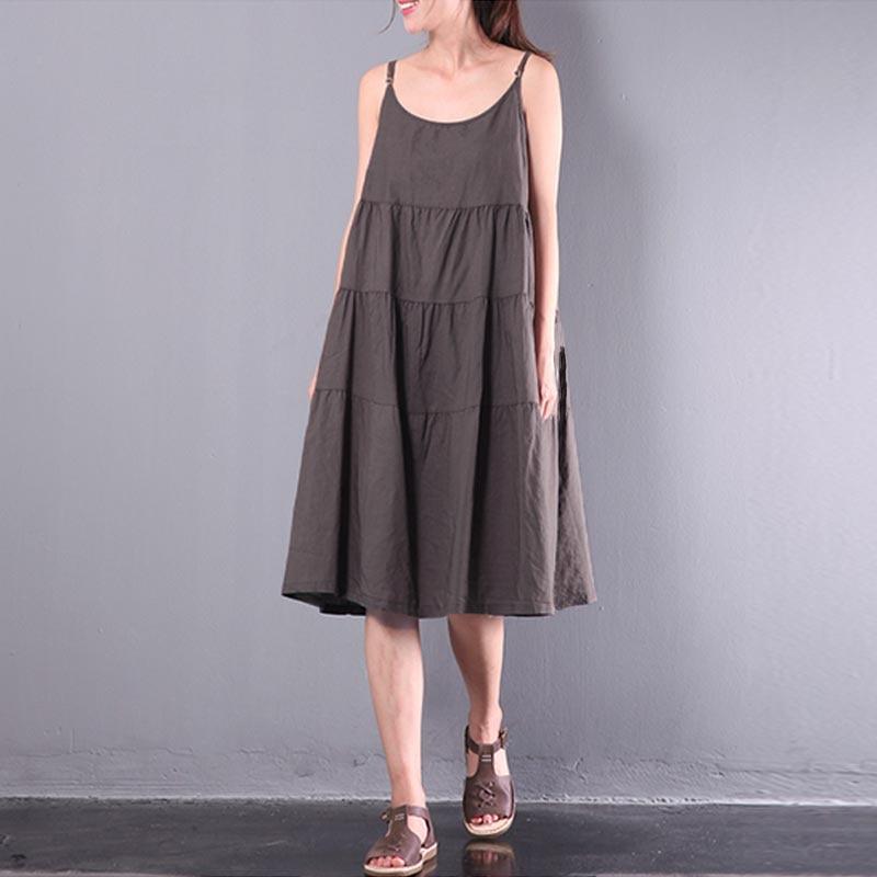 Oversized ZANZEA Summer Women Retro O Neck Strappy Solid Cotton Linen Party A-line Dress Casual Baggy Beach Dungarees Sundress