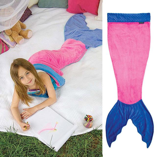 2016 Top Fashion Venda Crianças Sacos De Dormir Travesseiro Uyku Tulumu Saco Sereia Cauda Ondulada Seção Crianças Cobertor de Flanela Dupla 140 cm
