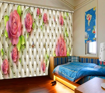 rose curtains Luxury Blackout 3D Window Curtains For Living Room Bedroom soft curtains