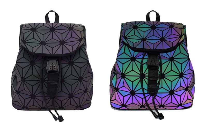 HTB10RvyhSfD8KJjSszhq6zIJFXaQ Bao Women Backpack Luminous Drawstring Female Daily Backpack Geometry Backpacks Folding School Bags For Teenage Girls Mochila