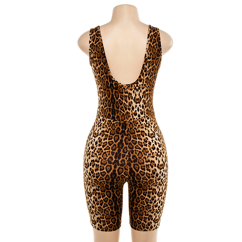 Cryptographic Sexy Deep V Neck Sleeveless Leopard Rompers Womens Jumpsuit Short Summer Streetwear Playsuit Fashion Body Feminino in Rompers from Women 39 s Clothing