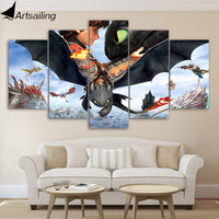 5 Piece Canvas Painting Movie Poster How To Train Your Dragon HD Prints Canvas Painting For