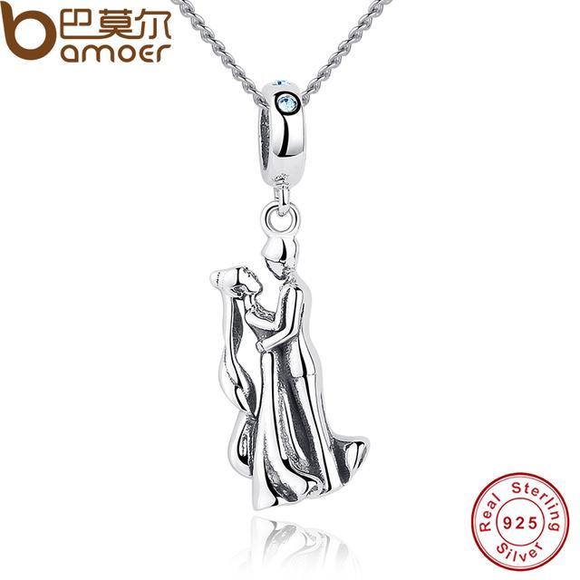 Sterling Silver Figure Dancer Crystal Pendant Necklace