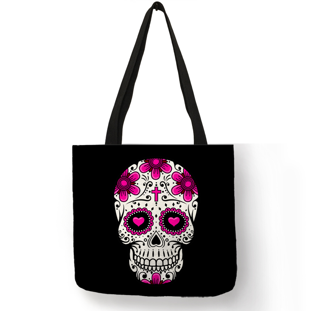 Latest Design Torebki Damskie Lady Handbag Halloween Scary Smile Flower Skull Eco Linen Practical Women Men Tote Bags