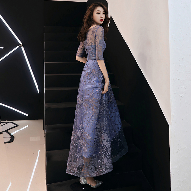 Lace Evening Dresses Long 2019 Elegant O neck A line Floor Length Formal Evening Gown With Sleeves Plus Size Formal Dress in Evening Dresses from Weddings Events