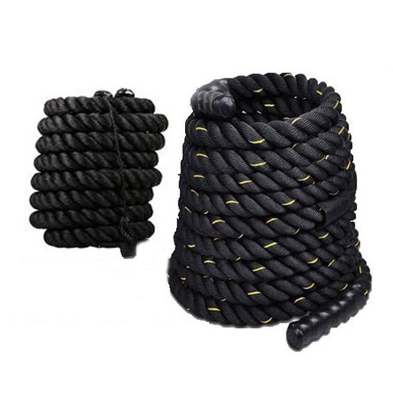 12M/15M Dacron Material Heavy Black Gold Battling Rope Physical Body Strength Training Sport Fitness Exercise Workout Rope