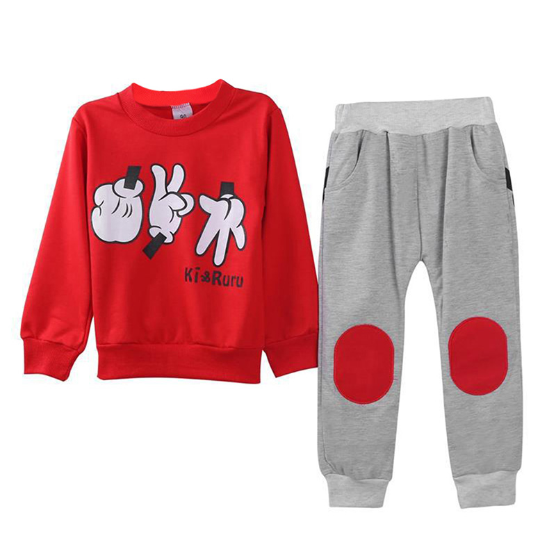 2-7Y Autumn Baby Boys Girls Clothes Suit Finger Games Tracksuits 2 Pcs Children Outfit Clothing Sets Blue Red