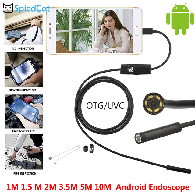 IP67 Waterproof Android OTG USB 1/1.5/2/3.5/5/10M Endoscope 5.5/7/8mm Mini Lens Snake Pipe Inspection Borescope  Flexible Camera