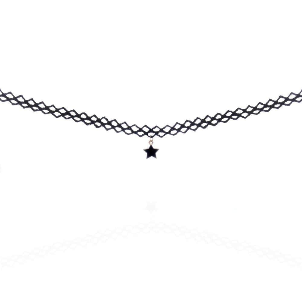 ゴシックスタイルシンプルなブラックレースメタルスターペンダントタトゥーchokerネックレス女性レディネック襟ジュエリーアクセサリー