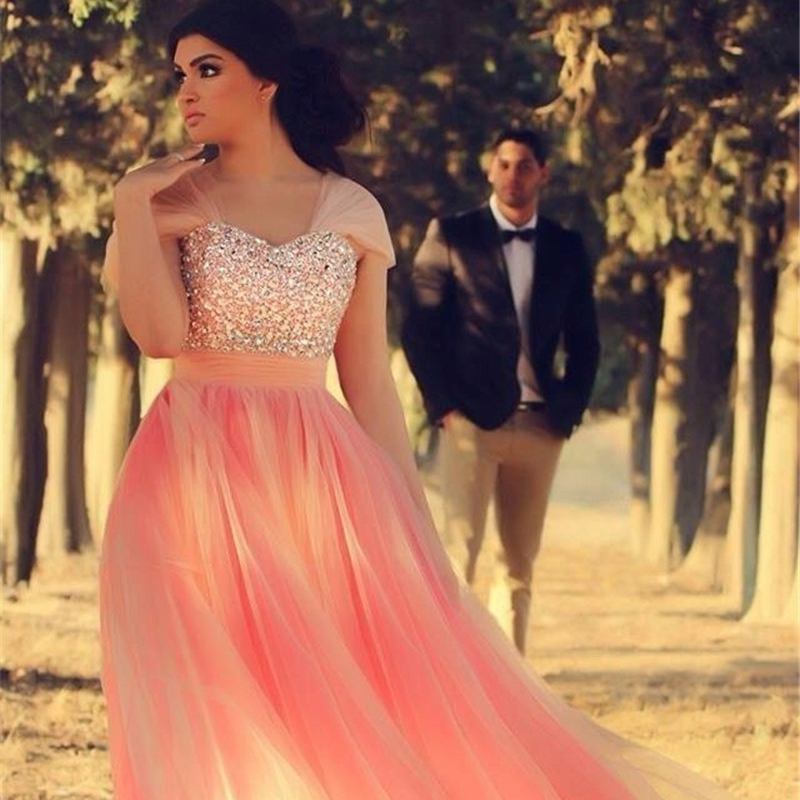 Puffy Pink Long Prom Dress V Neck Cap Sleeves A Line Chiffon Prom Gowns  Shiny Beading Sequined Prom Dresses Formal Party Gown-in Prom Dresses from  Weddings ... 2c278771291c