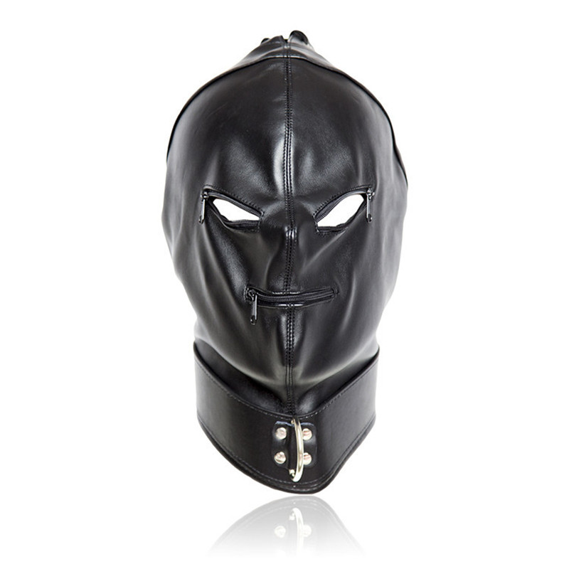 2017 Fetish PU Leather Sexy Mask,Bondage Hood With Open Eyes & Mouth Zipper Cosplay Slave Mask,Adult Game Erotic Toys For Couple fetish mask hood sexy toys open mouth eye bondage hood party mask cosplay slave headgear mask adult game sex products 4 style