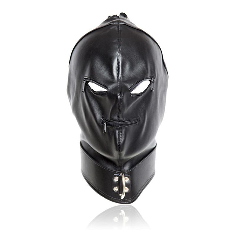 2017 Fetish PU Leather Sexy Mask,Bondage Hood With Open Eyes & Mouth Zipper Cosplay Slave Mask,Adult Game Erotic Toys For Couple цена