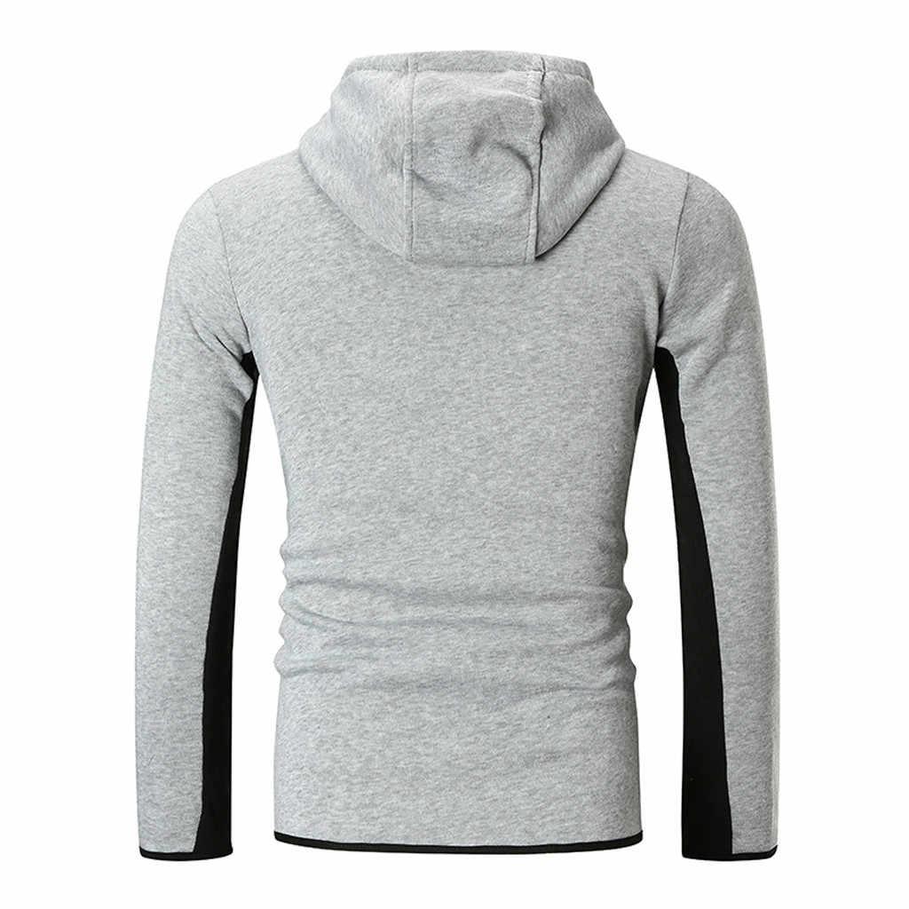 CHAMSGEND männer der mode einfarbig lange-ärmeln mit kapuze pullover Dünne beiläufige zipper sweatshirt sport running training hemd