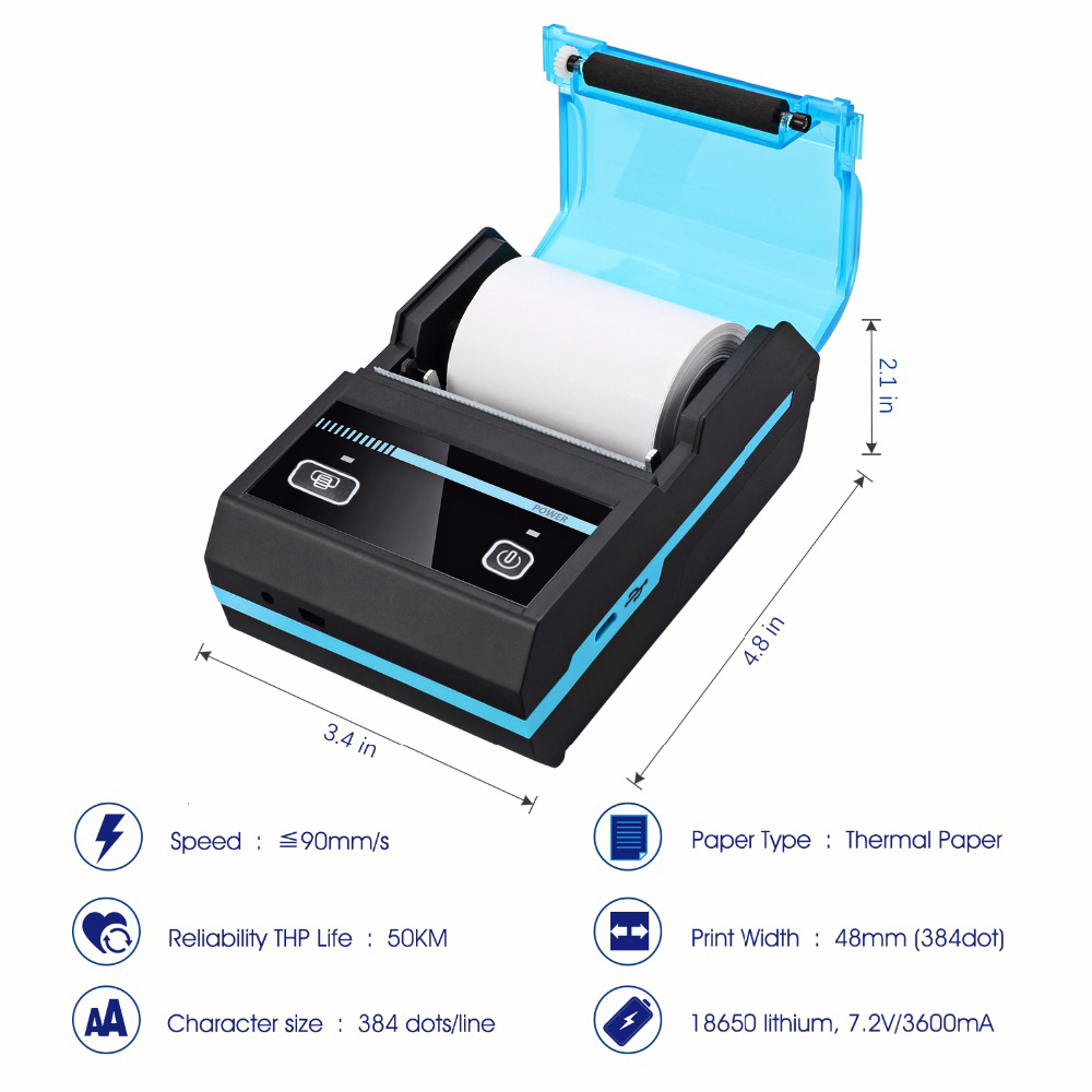Offre spéciale USB/Bluetooth mini imprimante thermique étiquette facture ticket reçu Android IOS 50mm